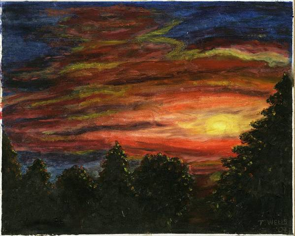 Sunset In Washington State Art Print featuring the painting Sunset in Washington State by Tanna Lee M Wells