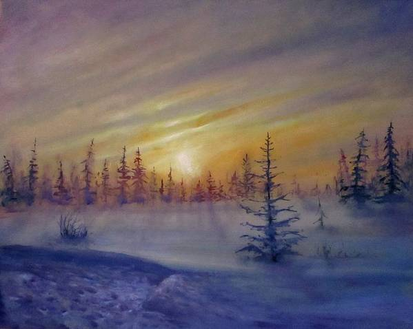 Winter Art Print featuring the painting Sunset by Natalja Picugina