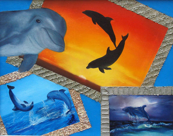Art Print featuring the painting Taylors Dolphins by Darlene Green