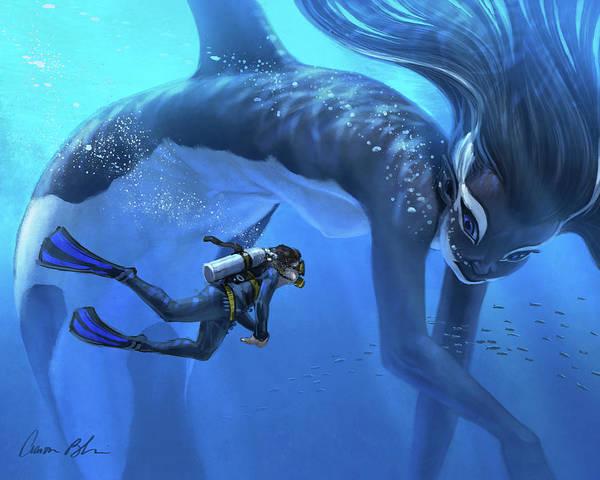 Mermaid Merwhale Fantasy Marine Art Print featuring the digital art The Encounter by Aaron Blaise