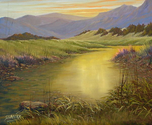 Landscape Art Print featuring the painting The End Of The Day 070714-79 by Kenneth Shanika
