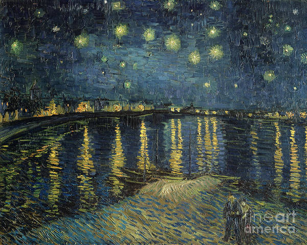 The Art Print featuring the painting The Starry Night by Vincent Van Gogh