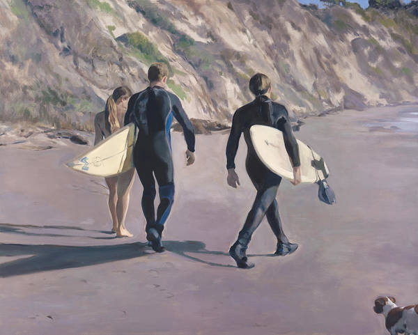 Surfers Art Print featuring the painting The Surfers by Merle Keller