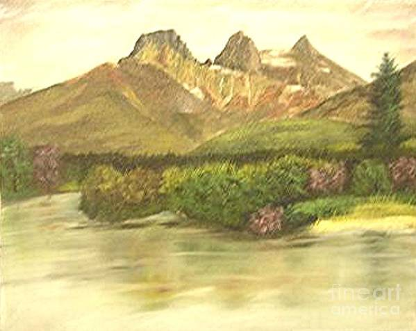 Lanscape Art Print featuring the painting The Three Sisters by Nicholas Minniti