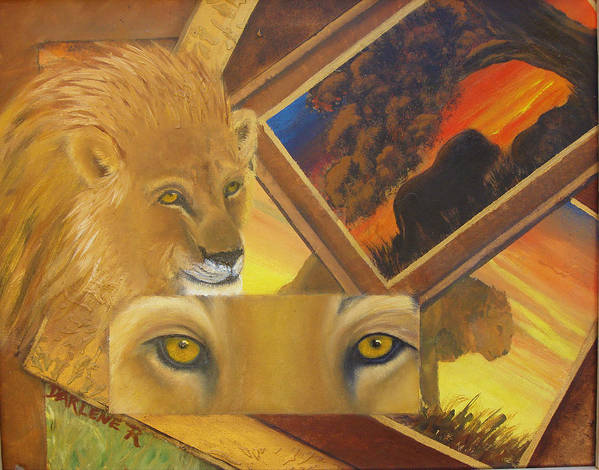 Lion Art Print featuring the painting Those Eyes Lion by Darlene Green