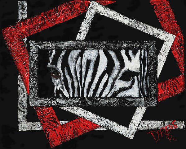 Abstract Art Print featuring the painting Those Eyes...zebra by Darlene Green