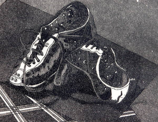 Etching Art Print featuring the drawing Thousand Mile Bicycle Shoes by Jan Bennicoff
