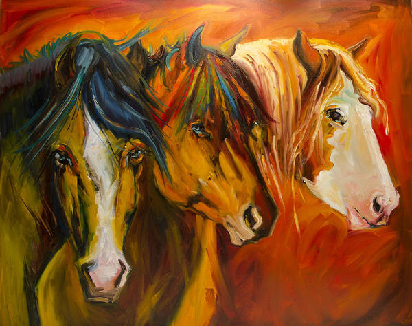 Horse Art Print featuring the painting Three at the Fence Line by Diane Whitehead