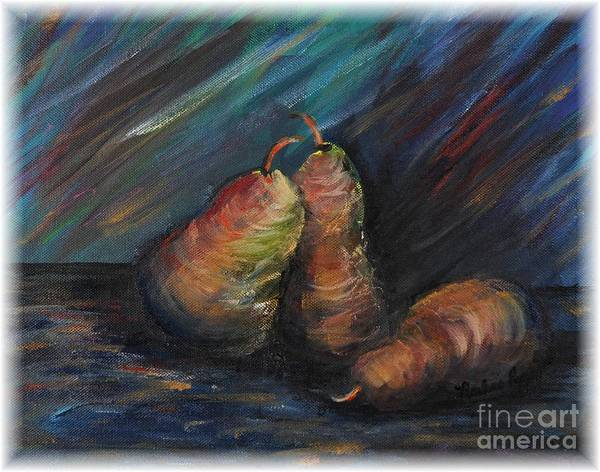 Pears Fruit Stilllife Blue Red Gold Orange Art Print featuring the painting Three Pears by Nadine Rippelmeyer
