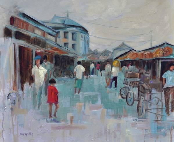 Taipei Villages Art Print featuring the painting Tien Mou Village Taipei by Ginger Concepcion
