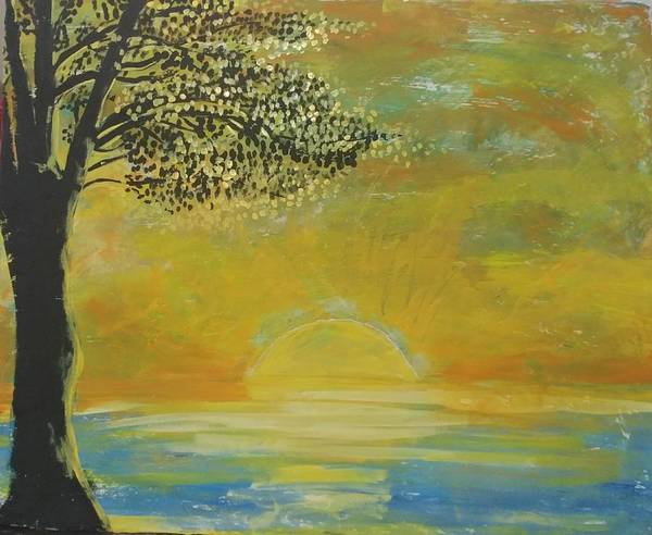 Sun Set Art Print featuring the painting Time to go in by J Bauer