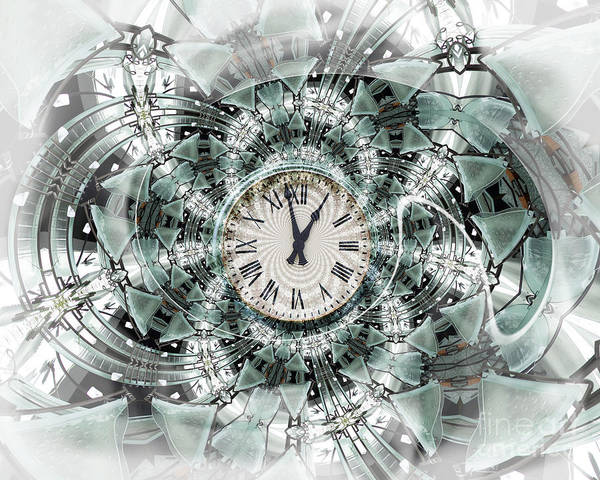 Clock Art Print featuring the digital art Time Warp by Chuck Brittenham