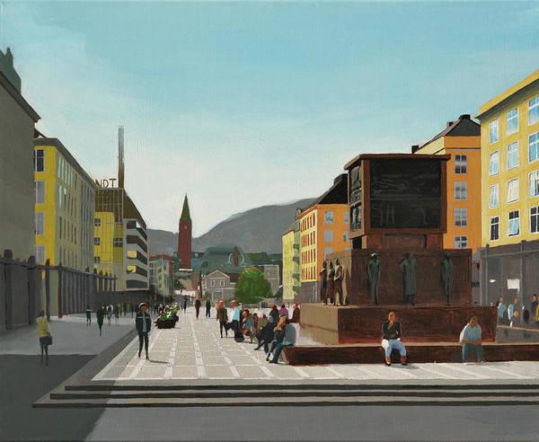 Town Art Print featuring the painting Torgallmenningen by Arild Amland
