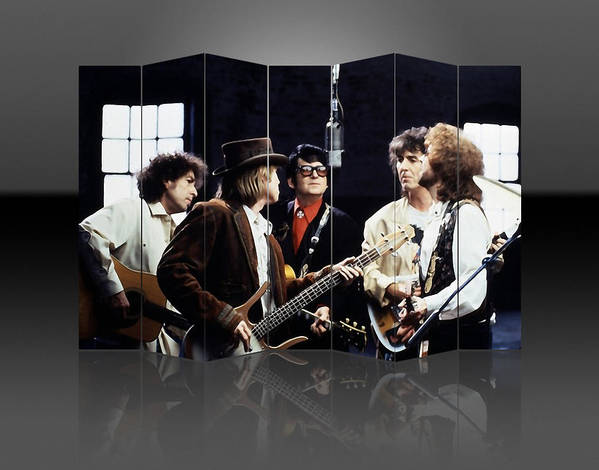 Traveling Wilburys Art Print featuring the mixed media Traveling Wilburys Art by Marvin Blaine