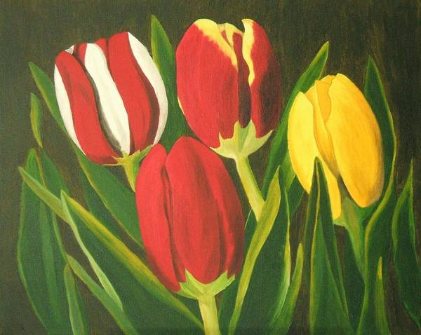 Tulips Art Print featuring the painting Tulip Time by Brandy House
