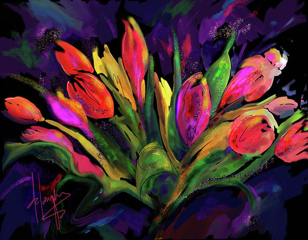 Dc Langer Art Print featuring the painting Tulips by DC Langer