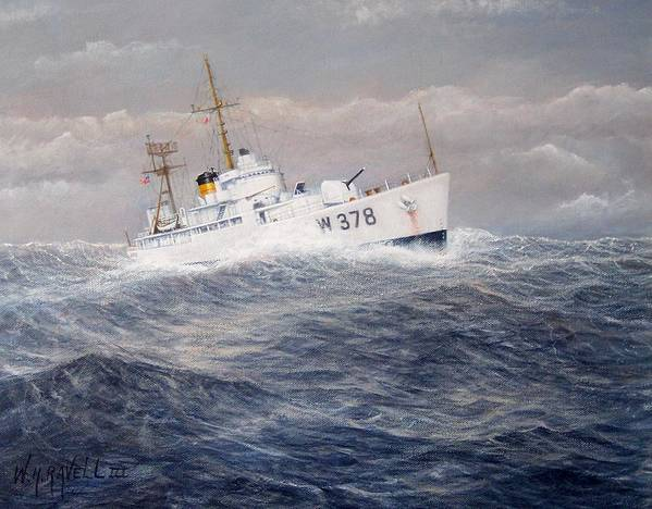 Coast Guard Cutter Art Print featuring the painting U. S. Coast Guard Cutter Halfmoon by William H RaVell III