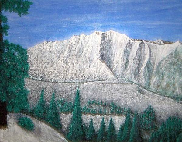 Snow Art Print featuring the painting Viewfrom Spruces by Michael Cuozzo