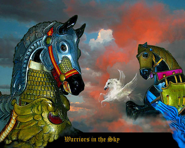 Horses Art Print featuring the digital art Warriors in the sky by Bette Gray