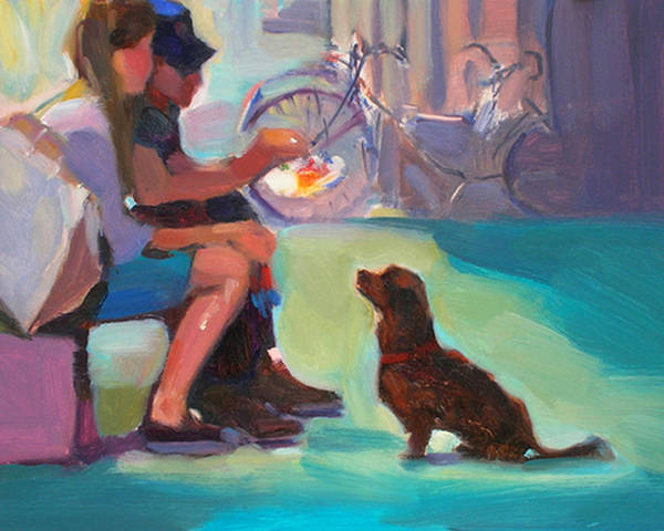 Dog Art Print featuring the painting Watching And Waiting by Merle Keller