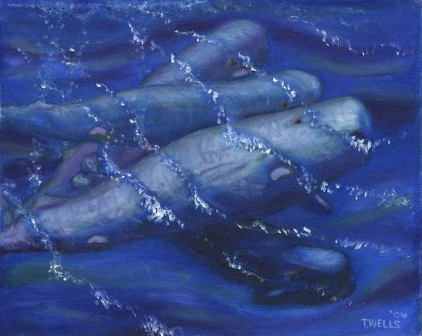 Whales Art Print featuring the painting Whales under the Surface-Is that Moby Dick on the Bottom by Tanna Lee M Wells
