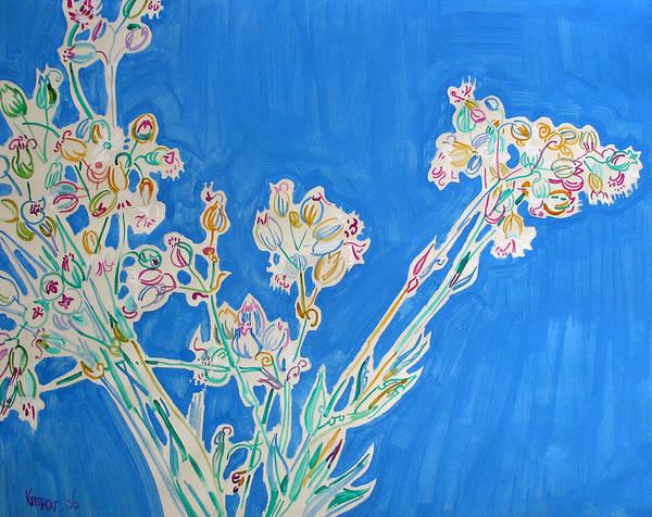 Wild Art Print featuring the painting Wild Flowers on Blue by Vitali Komarov