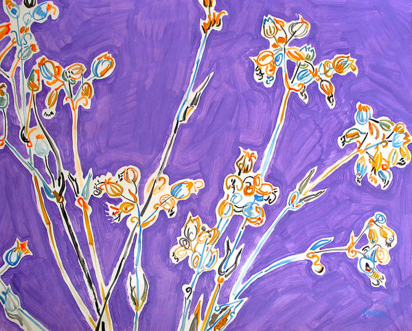 Wild Art Print featuring the painting Wild Flowers on Lilac by Vitali Komarov