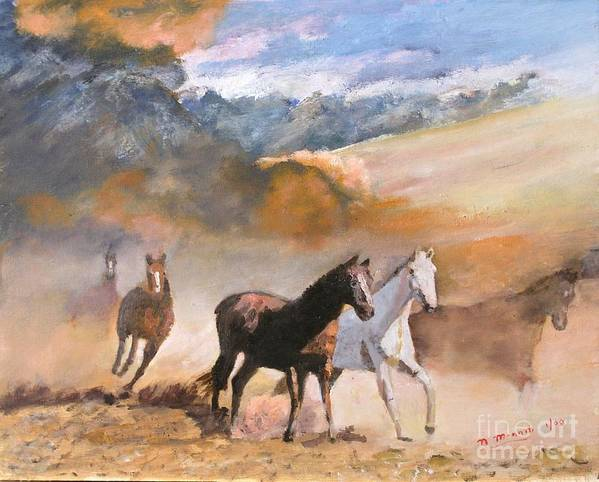 Landscape Art Print featuring the painting Wild Horses by Nicholas Minniti