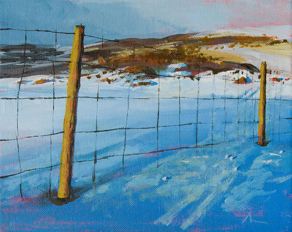Winter Art Print featuring the painting Winter Fence by Arild Amland