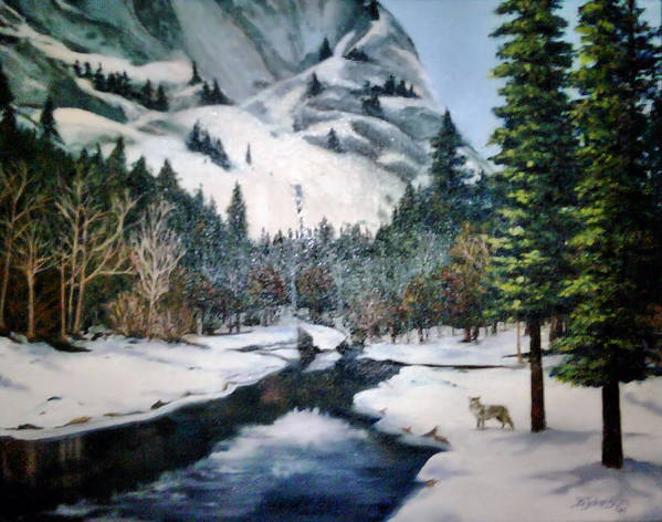 Landscape Art Print featuring the painting Winter Half Dome by Beverly Johnson