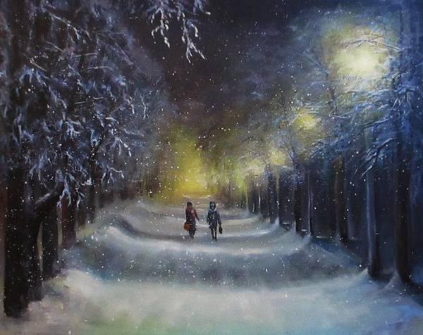Night Lights Art Print featuring the painting Winter night walk by Natalja Picugina