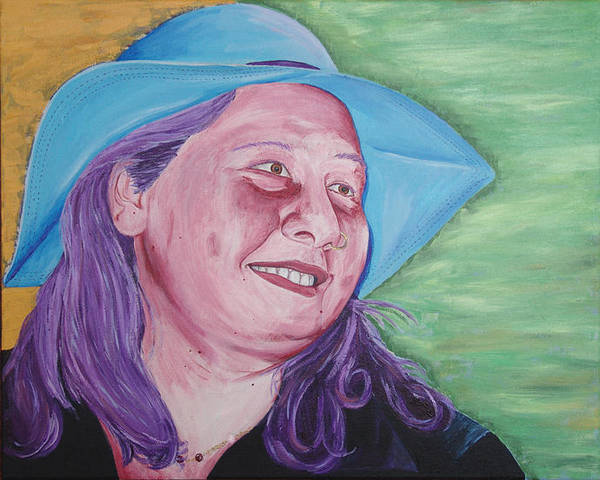 Portrait Art Print featuring the painting Yellow Blue Green Christine by Kevin Callahan