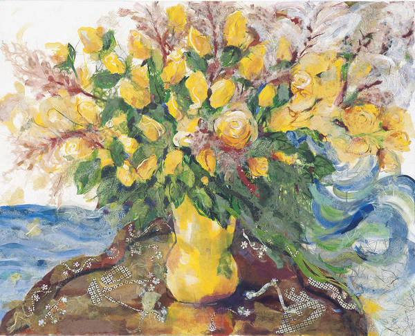 Floral Art Art Print featuring the painting Yellow Roses by Nira Schwartz