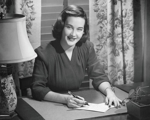 People Art Print featuring the photograph Young Woman Writing Letter At Desk, B&w by George Marks