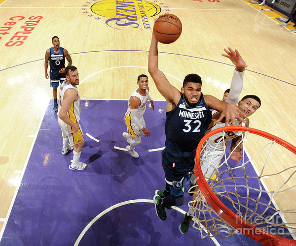 Nba Pro Basketball Art Print featuring the photograph Minnesota Timberwolves V Los Angeles by Andrew D. Bernstein