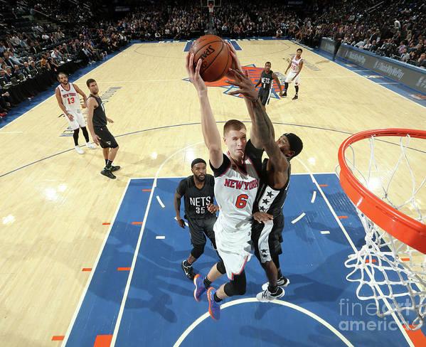 Nba Pro Basketball Art Print featuring the photograph Brooklyn Nets V New York Knicks by Nathaniel S. Butler