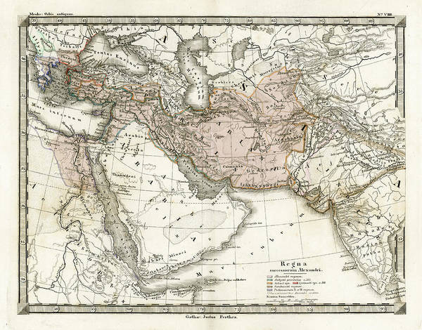 Arabia Art Print featuring the digital art Antique Map Of Alexander The Greats by Duncan1890
