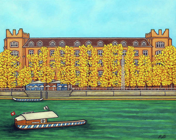 Basel Art Print featuring the painting Basel Kaserne - Autumn by Lisa Lorenz