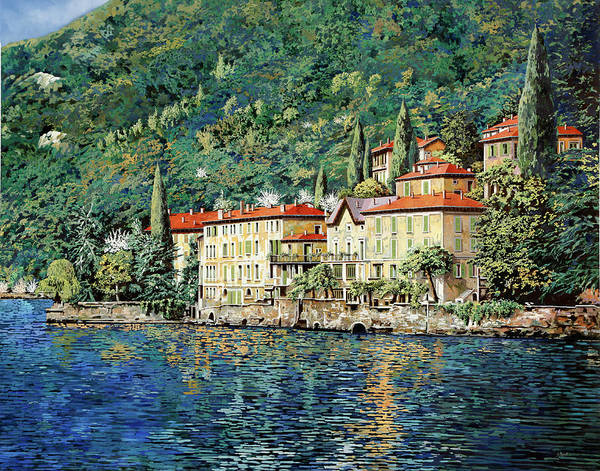 Landscape Art Print featuring the painting Bellano on Lake Como by Guido Borelli