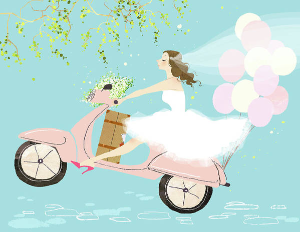 People Art Print featuring the digital art Bride On Scooter by Eastnine Inc.