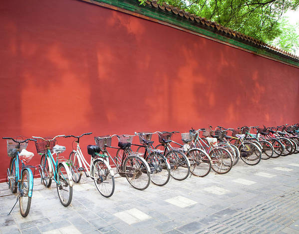 Shadow Art Print featuring the photograph Chinese Bikes by Sam Diephuis