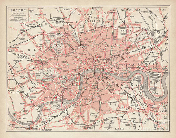 Downtown District Art Print featuring the digital art City Map Of London, Lithograph by Zu 09