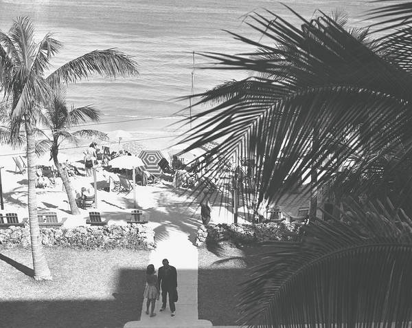 Heterosexual Couple Art Print featuring the photograph Couple Walking In Path Towards Beach by George Marks