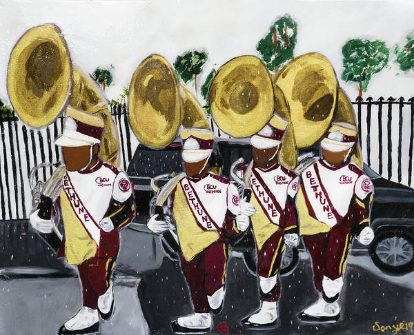 Bethune Cookman University Art Print featuring the painting Da Rock of The Pride by Sonye Locksmith
