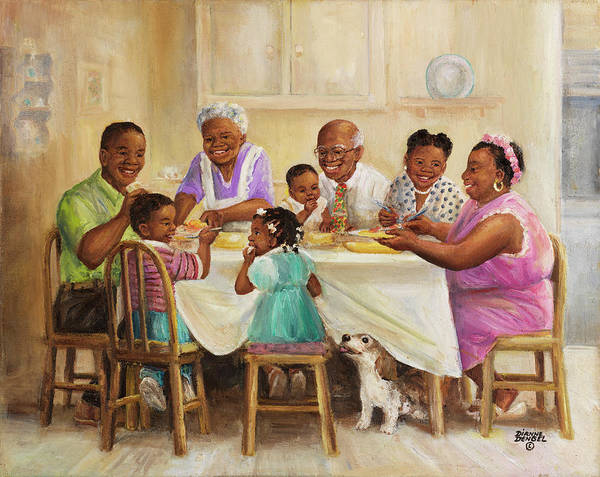 African American Family Art Print featuring the painting Dd_024 by Dianne Dengel