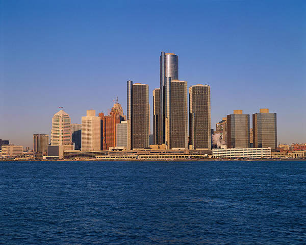 Detroit Art Print featuring the photograph Detroit Buildings On The Water by Visionsofamerica/joe Sohm