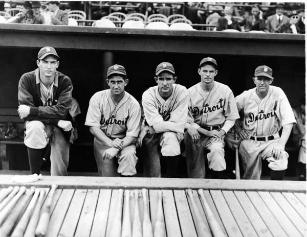 People Art Print featuring the photograph Detroit Tigers 1935 Pitching Staff And by Fpg