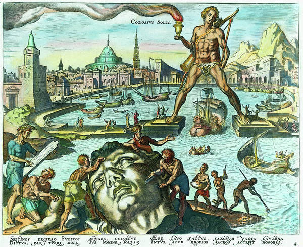 Engraving Art Print featuring the photograph Engraving Of The Colossus Of Rhodes by Bettmann