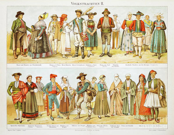 Engraving Art Print featuring the digital art European Costumes Lithograph 1897 by Thepalmer