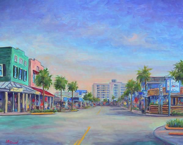 Folly Beach Art Print featuring the painting Folly Beach Center Street by Jeff Pittman